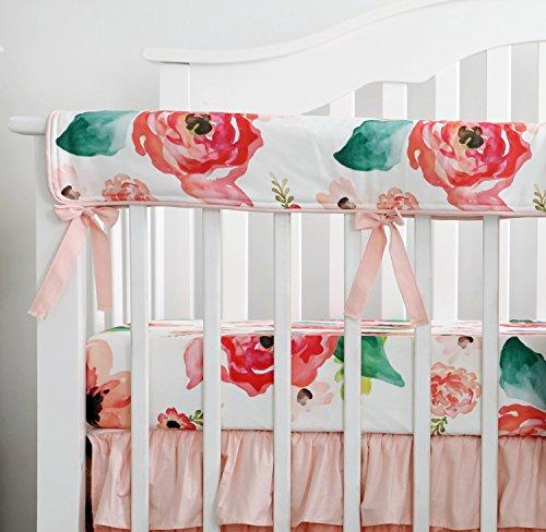 Sahaler Crib Rail Cover, Floral Crib Protector from Chewing, Crib Rail Teething Guard, Crib Wrap for Nursery Baby Crib - Coral