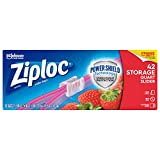 Ziploc Slider Storage Bags with Power Shield Technology, For Food, Sandwich, Organization and More, Quart, 42 Count