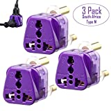 South Africa Adapter by Yubi Power 2 in 1 Universal Travel Adapter with 2 Universal Outlets - Grounded - CE Approved/RoHS Compliant - Type M for South Africa and More! - 3 Pack Adapter Set