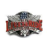 eeddoo® Gürtelschnalle - #1 Live to Ride - Ride to Live (Buckle für Wechselgürtel für Damen und Herren | Belt Frauen Männer Oldschool Rockabilly Metall Gothic Wave Rock Biker Western Trucker)