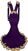 MariRobe Women's Mermaid Long Sleeves Gold Lace Applique Evening Dress Deep V Neck Backless
