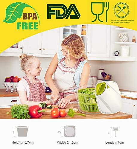 Focovida Salatschleuder 5L mit Deckel und Nudelzange, Design Patent Großer Salattrockner inkl. Salatschüssel zum Servieren & Ablaufsieb für Wasser aus Kunststoff, Hohe Effizienz, Transparent - 6