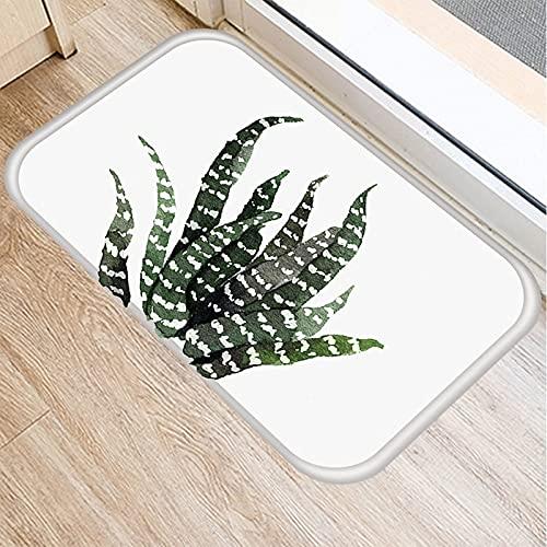 OPLJ Felpudo con patrón de Plantas de Hojas Verdes, Felpudo de Alfombra Antideslizante, Alfombra de Piso de Cocina y Sala de Estar al Aire Libre A9 40x60cm