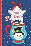 World's Best Dad: Teal Snowman Hot Cocoa Mug with Candy Cane / Small 6x9 To Do List Notebook and Christmas Card for Dad Combo / Fun Gift or Stocking Stuffer for Dad