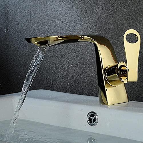 Hogar Decoración de baño Grifo de agua fría y caliente Grifo de lavabo de baño Instalación de encimera de lavabo de cerámica Grifo de oro cromado-S