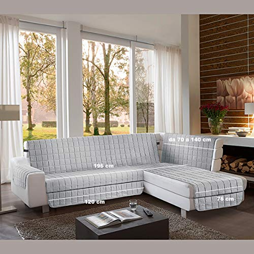 la biancheria di casa Simplicity Plus Angle Copri Salva Divano per divani ad Angolo (195 cm, Grigio Chiaro)