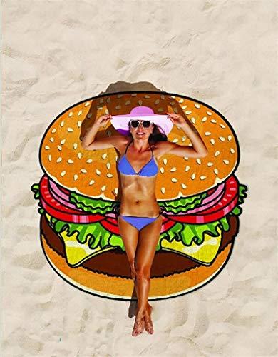 Lfnny Manta De Playa De Microfibra Alfombra De Picnic 150 * 150cm/59 * 59in Alfombra De Playa Resistente Al Agua Y A La Arena Ideal para La Playa, El Senderismo Y Los Viajes por La Hierba (Hamburger)