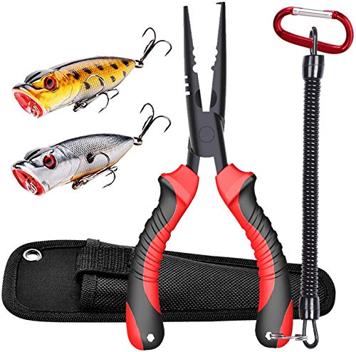"JOOKKI Fishing Pliers,Fish plier Saltwater with Sheath Resistant Teflon Coating, Rubber Handle 7"" Cutthroat Boom Fishing Gear, Fish Pliers Hook Remover kit,(2 pcs) Bass Fishing Lures Kit Lifelike."