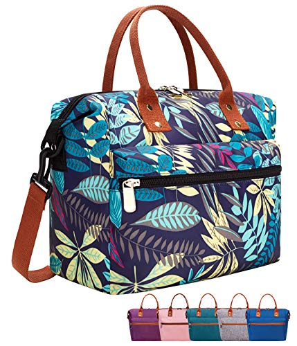 Leakproof Insulated Lunch Tote Bag with Adjustable Removable Shoulder Strap Durable Reusable lunch Box Container for WomenMenKidsPicnicWorkSchool-Purple Leaf