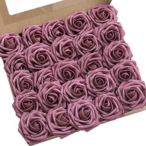Ling's moment Artificial Rose Flowers 50pcs Mauve Foam Roses w/Stem for DIY Wedding Bouquets Centerpieces Bridal Shower Party Home Decorations (Regular 3')