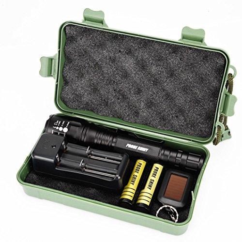 Taschenlampen-Set, SHOBDW X800 Taschenlampe LED CREE XM-L2 Taktische Zoom 2 Batterie 18650