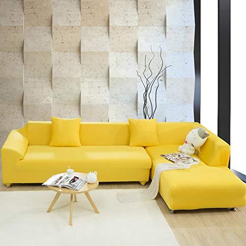ARTEZXX Funda para sofá Amarillo 1/2/3/4 plazas Color Puro Estirar Todo Incluido Protector para Mascotas para Sala de Estar Dormitorio 1 plazas: 90-140 cm