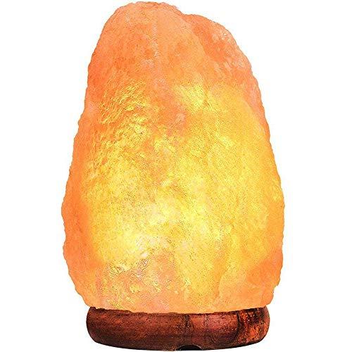 Lámpara de Sal Himalaya Luz Nocturna/Brillo Cortada a mano Roca de Sal Rosa del Himalaya Lámpara de Roca Cable UL con Base Genuina de Palo de Rosa/Foco y Atenuador actualizado de Toque Control de Encendido Focos Cristal de 15 watts(2-3kg)
