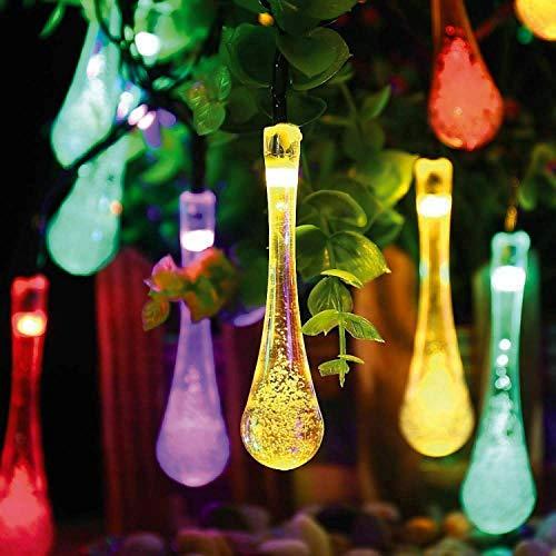 Solarbetriebene Lichterketten 30LED Solar 20FT WaterDrop Regentropfen Teardrop Starry Fairy Lights Wasserdichte Outdoor-Lichterketten für Terrasse Hochzeit Pathway Party Hausgarten Dekoration Bunte