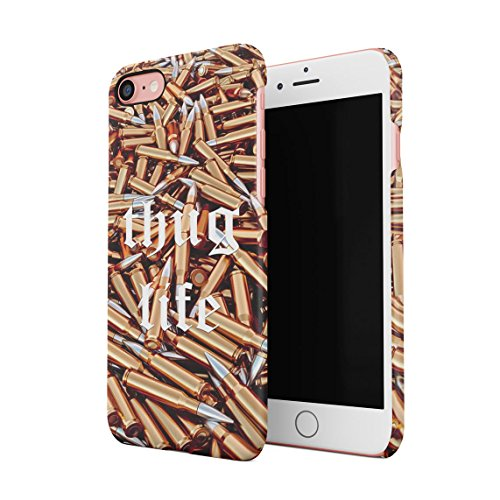 Thug Life Military Ammunition Weapons Golden Bullets Custodia Posteriore Sottile in Plastica Rigida Cover per iPhone 7 & iPhone 8 & iPhone SE 2020 Slim Fit Hard Case Cover