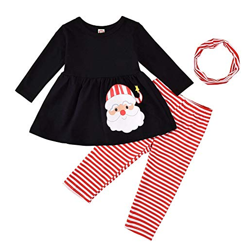 AUXSOUL Christmas Baby Girls Toddler Little Girls Santa Claus Tunic Dress Top Striped Leggings Hairbands 3PC Set(6-12 Month Black)