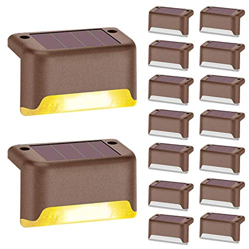 Aogist Solar Step Lights,Solar Deck Lights,16 Pcs Waterproof Outdoor Led Solar Lamp for Steps,Fence,Deck,Pathway,Railing and Stairs(Black) (Brown)