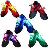 Zetong 5 pares de cordones LED, multicolor Light Up cordones de los zapatos con 3 modos de luz con pilas Intermitente para el partido de la noche de baile Cosplay Hip-hop Ciclismo Senderismo