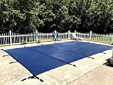 ONESTOCK Inground Safety Pool Cover, Rectangular, Durable 2-Ply Polypropylene Mesh, Easy to Remove, w/Brass Anchors, Stainless Steel Springs - 1' Overlay On Each Side (16' Feet x 32' Feet)