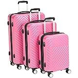 Amazon Basics 3 Piece Geometric Hard Shell Expandable Luggage Spinner Suitcase Set - Pink