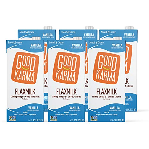 Good Karma Flaxmilk, Classic Vanilla, 32 oz Shelf-Stable Carton (Pack of 6) Dairy-Free, Plant Based Milk Alternative, Vegan, Made without GMOs, Nuts, Soy, Gluten, Lactose
