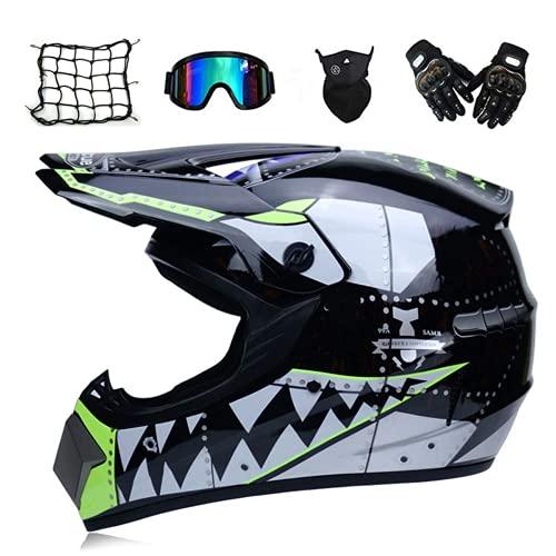 Niño, Casco Negro/tiburón, Auriculares ATV Integral (5pcs), Casco Adulto Cross Cross Cross BMX Enduro Motocicleta Conjunto con Guantes/Gafas/máscara/Filete con elástico,XL