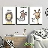Lorcoo Cuadros Infantiles, Juego de 3 imágenes para habitación de niños, A4 Póster habitación de bebé, Decoración para niñas y niños