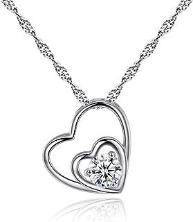 Collana da donna, collana con pendente a doppio cuore, collana di gioielli di cuore lucido, confezione elegante, regalo di...