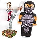 Ninja Aufblasbare Standboxsack Kinder mit Luftpumpe, 145cm Punching Bag for Kids, Boxsack Stehend Schlagtraining Aufklärungserziehung für Boxen, Karate, Taekwondo…