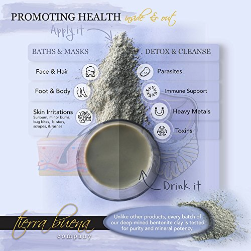 Tierra Buena Pure Clay – Premium Calcium Bentonite Clay Food Grade (Montmorillonite) Powder - Supplement Quality - Laboratory Tested for Purity - Internal Detox and Cleanse - Mask, Body Wrap and Bath - 14.5 oz