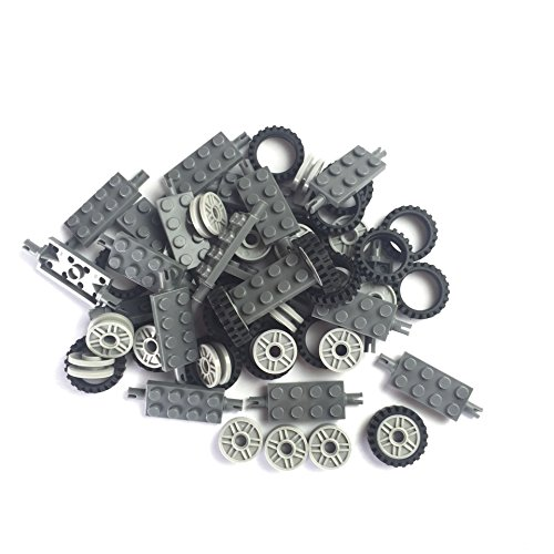 24 mm X 7 mm Tire,Wheel and Long Axles -50 Pieces Brick Building Chassis Pieces Education Wheels Set Toy