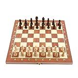 Juego de ajedrez de juguetes de madera de 14 pulgadas plegable y partes de trabajo y...