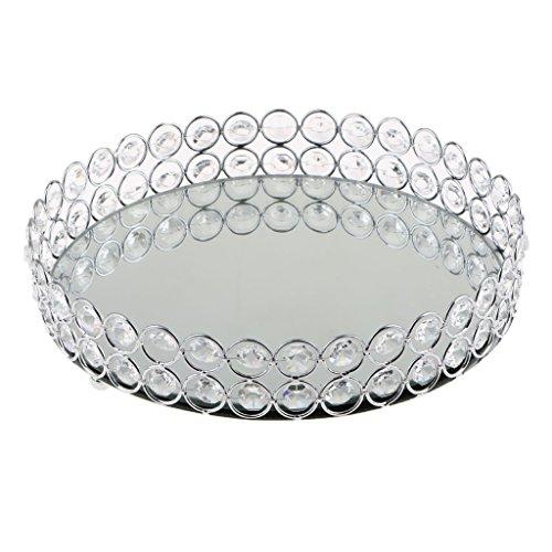B Blesiya Bandeja Decorativa Borde de Hueco de Material Metal Cristal - 25cm de Plata