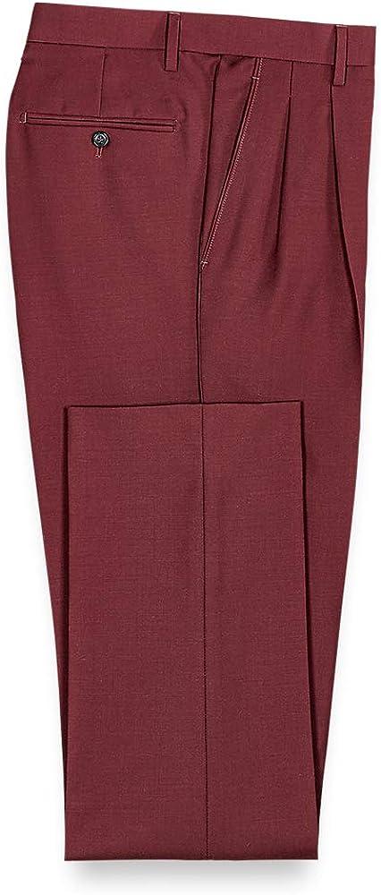 Paul Fredrick Men's Wool Sharkskin Pleated Suit Pants
