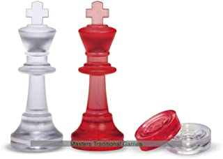 Dal Negro Red Frosted Chess and Draughts Pieces