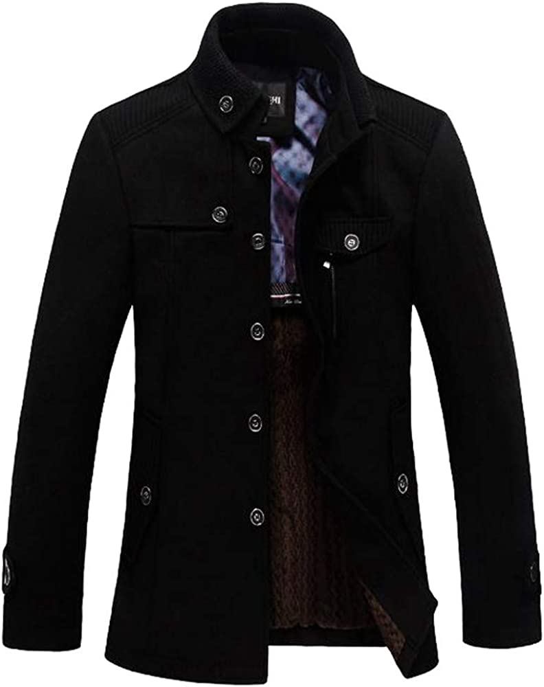 Men's Trench Coat Stand Collar Warm Soft Thick Winter Windproof Jacket Outwear