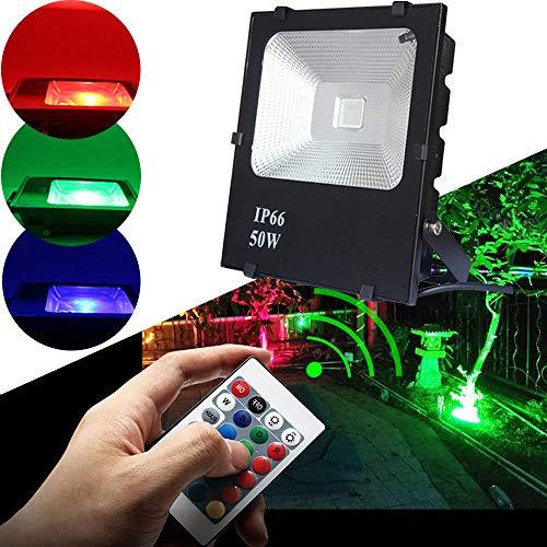 HENGMEI LED Strahler Fluter Außenstrahler 50W RGB IP66 Wasserdicht Flutlicht Aluminium Scheinwerfer für Garten, Garage, Sportplatz