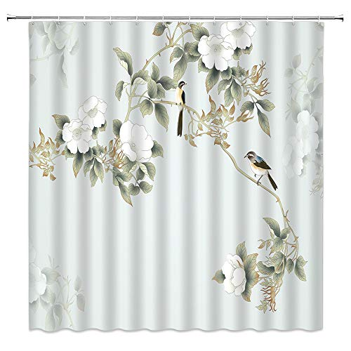 jingjiji Asian Decor Shower Curtain Watercolor Magnolia Antique Birds Flower Blossom Vintage Painting , Oriental Chinese Ink Painting Art Bathroom Decor Polyester Fabric with Hook (Teal, 70 X 70 Inch)