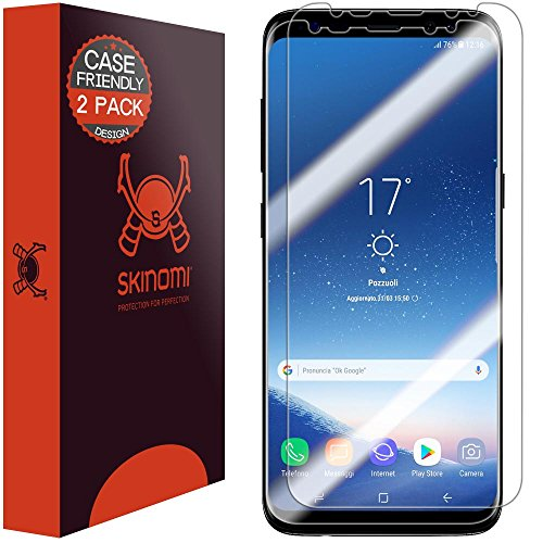 Galaxy S8 Screen Protector (2-Pack,Case Friendly), Skinomi® TechSkin Full Coverage Screen Protector for Samsung Galaxy S8 Clear HD Anti-Bubble Film