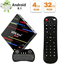 TV Box Android 8.1 QPLOVE H96 Max+ Smart Android TV Box 4GB 32GB with Backlight Keyboard RK3328 64Bits CPU Support 2.4G Wifi/100M LAN/3D/KD18.0/USB3.0 /H265 4K Android Box
