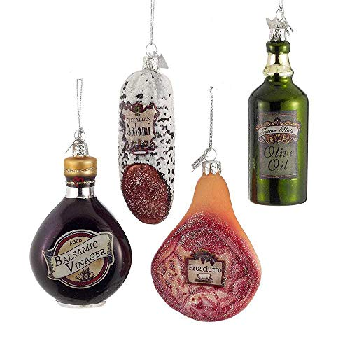 Kurt Adler NB0909 Holiday Decorative Noble Gems Glass Italian Food Hanging Accessory Christmas Tree Ornament Set with String Hanger (3 Pack)