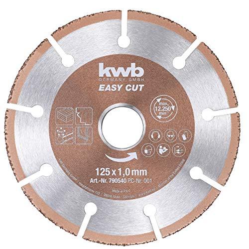 kwb 790540 Easy-Cut universal Hartmetall Trennscheibe 125 mm x 1,0 mm, Flex-Scheibe f. div. Materialien, Bohrung 22,23 mm, 125mm