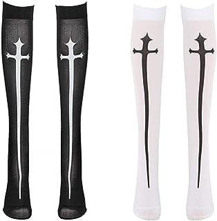Amosfun 2 Pairs Halloween Knee High Stockings Cosplay Lolita Gothic Socks for Women Halloween Cosplay Party Decorations (W...