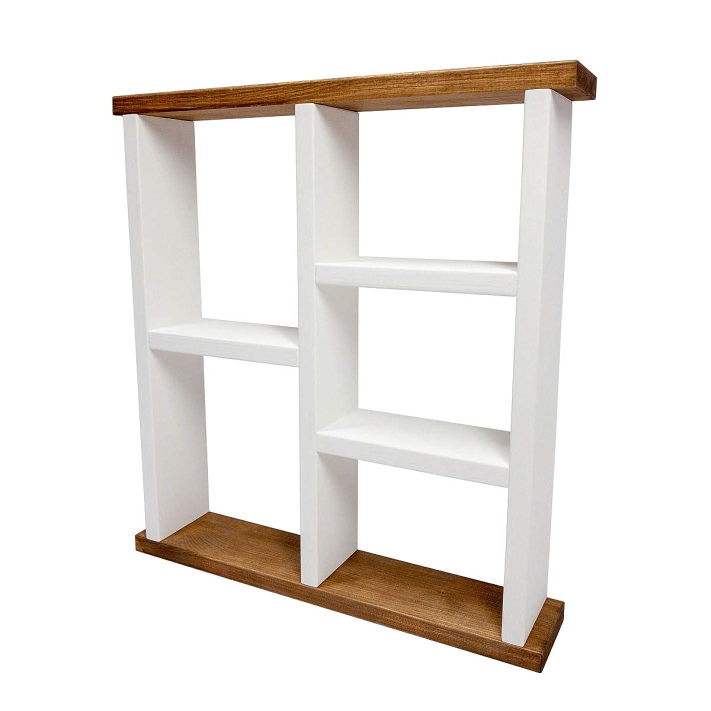 ハンドメイドウォールシェルフ 【シェルフB】木製 壁掛け 棚 ブラウン&ホワイト