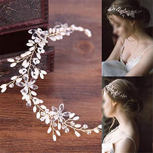 WZNING Pearl Band cheveux robe de mariée blanche Accessoires cheveux bande Bandeau nuptiale Couvre-chef (Color : Golden)