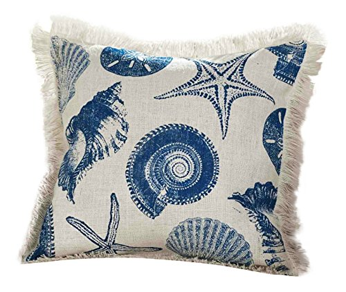 Mud Pie Blue Shell Pillow