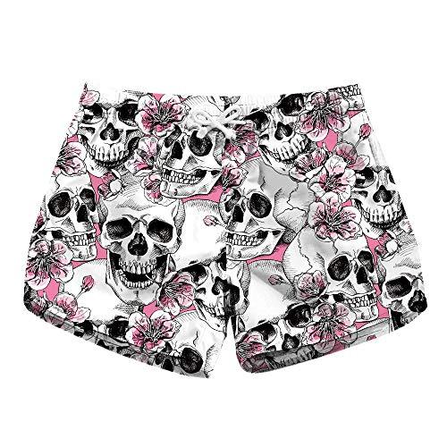 HaiDean Floral Skulls Damen Badeshorts Surfen Shorts Sommer Blumen Modernas Blumenmuster Badehose Mode Sommer Frauen Strand Badeshorts Strandhose Hose (Color : Blumen, Size : S)