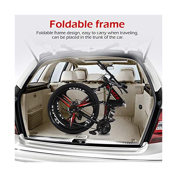 Folding Bikes NORSENS Mountain Bike, Adult 26 Inch Mountain Bike, Double Disc Brake Bicycles, Foldable Frame 25.6 Inch Spoke Wheels