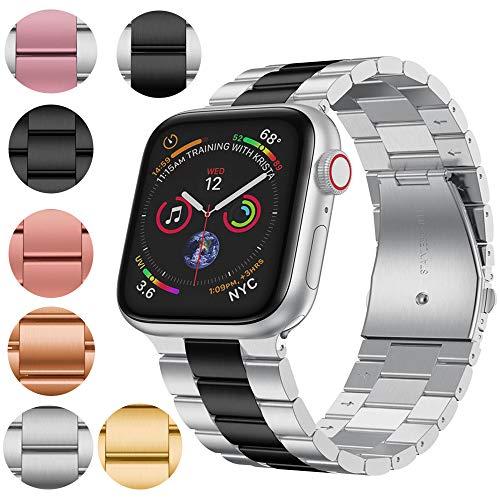 VeveXiao - Cinturino di ricambio per Apple Watch 44 mm 42 mm, in acciaio inox, cinturino di ricambio classico per iWatch Apple Watch Series 5 4 3 2 1 (argento nero, 42/44 mm)