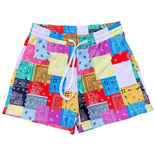 Women Beach Boardshorts Graphic Summer Bottom Novelty Workout Sport Shorts, Yellow, Small